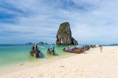 Railay beach with Thai long tail boats in Krabi, Thailand Royalty Free Stock Photography