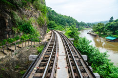 Beautiful of railwat track of Thai Railway and river resort Stock Photo