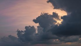 Beautiful rain clouds at dusk. Dramatic cloudscape at sunset Royalty Free Stock Image