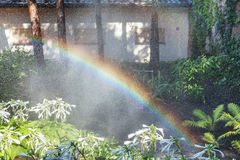 Beautiful rainbow in blooming park. Right half of the rainbow arc over the white colors of the host in a well-kept park on a summer day Royalty Free Stock Photo
