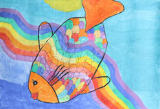 Beautiful rainbow fish - children watercolor painting. In vivid colors Royalty Free Stock Photography