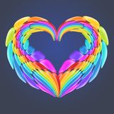 Beautiful rainbow heart with realistic glossy vector elements. stock illustration