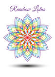 Beautiful rainbow lotus flower. Beautiful lotus flower composed from strokes of rainbow colors. Can be used by  yoga and fitness studios and school for logos Stock Photo