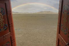 Beautiful rainbow in Mongolie royalty free stock images