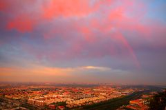 A beautiful rainbow over Beijing city Royalty Free Stock Images