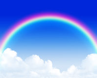 Beautiful rainbow over blue sky Stock Photo