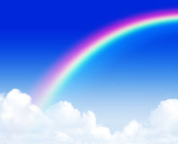 Beautiful rainbow over blue sky Royalty Free Stock Photo