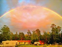 beautiful rainbow over a camping area in latvia Stock Photography