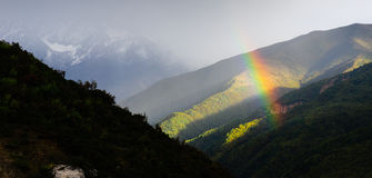 Rainbow over the mountain Royalty Free Stock Images