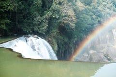 Beautiful of rainbow at Shifen Waterfall in Taiwan Royalty Free Stock Image