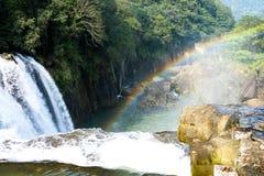 Beautiful of rainbow at Shifen Waterfall in Taiwan Stock Photo