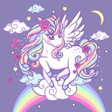 A beautiful, rainbow unicorn with stars, roses and clouds. Vector illustration for your design stock illustration