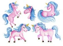 Beautiful rainbow watercolor unicorns set. Nursery unicorns illustration. vector illustration