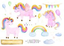 Beautiful rainbow watercolor unicorns set. Nursery unicorns illustration. stock photo