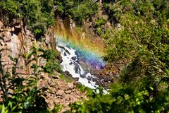 Beautiful rainbow and waterfall in South America royalty free stock images
