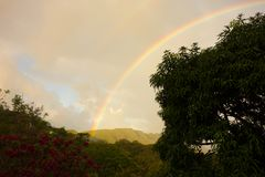 A beautiful rainbow in the windward islands Royalty Free Stock Photo