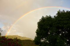 A beautiful rainbow in the windward islands Stock Image