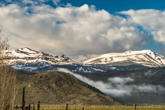 Beautiful Range Landscape of Snow Capped Mountains Near Bridgeport Valley, California. Beautiful, aerial, range landscape of the snow capped mountains near stock images