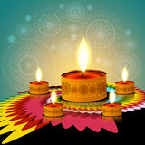 Beautiful rangoli creative diwali lamp  Stock Images