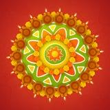 Beautiful rangoli for Happy Diwali celebration. Stock Photo