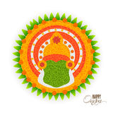 Beautiful rangoli for Happy Onam celebration. Beautiful Rangoli design with illustration of Kathakali Dancer Face for South Indian Famous Festival, Happy Onam Royalty Free Stock Photos