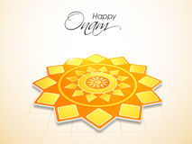 Beautiful rangoli for Happy Onam celebration. Stock Image