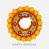 Beautiful rangoli for Happy Pongal festival celebration. Royalty Free Stock Photography