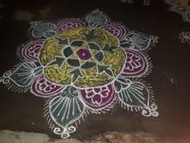 Beautiful rangoli. Large Multicolour beautiful rangoli in night time Stock Image