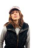 Beautiful rapper girl sending a kiss Royalty Free Stock Photos