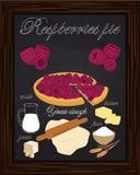 Beautiful raspberries pie and ingredients Stock Photos