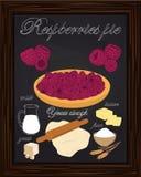 Beautiful raspberries pie and ingredients Royalty Free Stock Photos