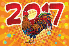 Beautiful realistic cock on a festive background 2017 Stock Images