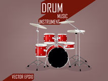 Beautiful realistic design set of drum,music instrument vector concept Stock Photography