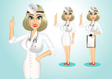 Beautiful realistic doctor giving a thumbs up Royalty Free Stock Image