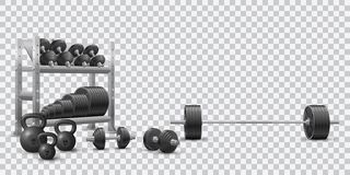 Realistic fitness vector of olympic barbell, black dumbbels, a set of kettlebells and a storage shelf with barbell plates royalty free illustration