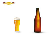 Beautiful realistic graphic design vector of bottle and glass of beer Royalty Free Stock Photo