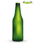 Beautiful realistic graphic design vector of green color bottle of beer with condensed water Stock Photo