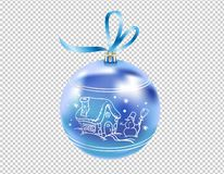 Beautiful realistic New Year 3D glassy blue ball with reflects and winter pattern isolated on transparent background. Traditional. Decoration for a Christmas vector illustration