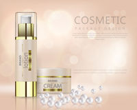 Beautiful realistic vector for advertisement of organic cosmetic series with face cream container and pearls royalty free illustration