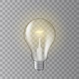 Beautiful realistic vector lit light bulb on transparent background.  stock illustration
