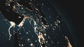 A beautiful realistic view of the planet Earth seen from outer space. Rotation of the Earth.Night sparkling cities. Nice background stock video