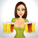 Beautiful realistic woman with beer Royalty Free Stock Photo
