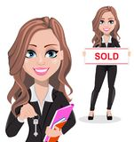Beautiful realtor woman. A real estate agent. A real estate agent cartoon character, set of two poses. Beautiful realtor woman holding key and holding banner Vector Illustration