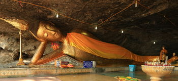Beautiful reclining buddha in Thailand Royalty Free Stock Image
