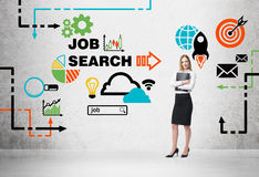 Beautiful recruiter agent with black folder is looking for new candidates. Colourful icons about job vacancies. A concept of recruitment process and job search Stock Photo