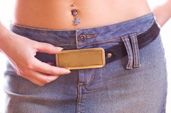 Beautiful rectangular buckle with free space on it Stock Photography