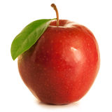 Beautiful red apple with leaf. On white background Royalty Free Stock Image