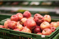 Beautiful red apples on a counter Stock Photography