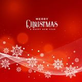 Beautiful red background for christmas festival with snowflakes. Vector Stock Images