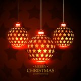 Beautiful red background with hanging christmas balls made with Royalty Free Stock Images